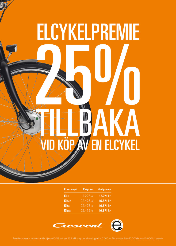 Affisch 25% på El-Cykel